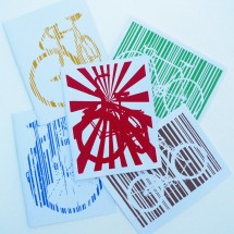 bicycles with stripes greeting cards lempert
