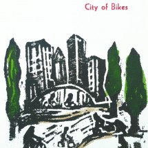 city of bikes card red bat