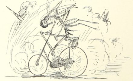 an illustration of a dragonfly riding a bicycle