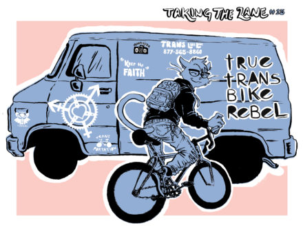 an image of a cat riding a bike and spray painting trans puns on a van