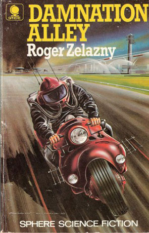 a book cover featuring a figure in a futuristic gas mask on a motorcycle